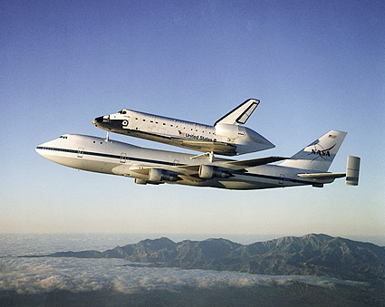 Space Shuttle Atlantis Piggyback Boeing 747 Photo Print