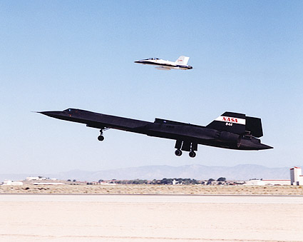 SR-71 Blackbird and F-18 Hornet Take-Off Photo Print