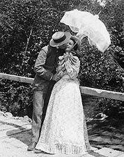 Summer Girl & Sweetheart Kissing 1897 Photo Print for Sale
