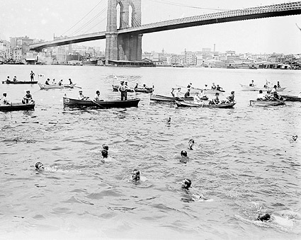 Swimming Race Past Brooklyn Bridge New York Photo Print