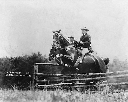 Theodore Roosevelt & Fitzhugh on Horses Photo Print