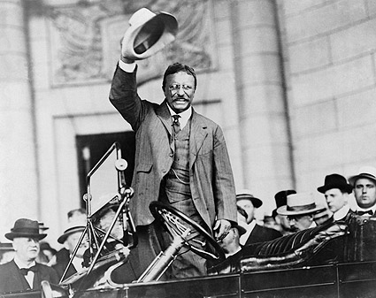 Theodore Teddy Roosevelt Gesture from Car Photo Print