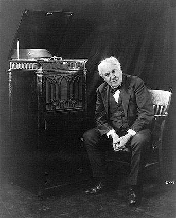 Thomas Edison Seated by Phonograph Photo Print