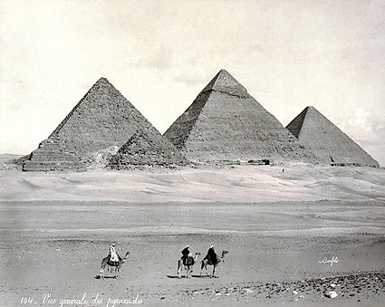 Three Pyramids & Camel Riders Egypt 1867 Photo Print