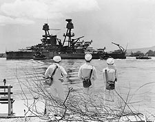 Three Sailors Looking at WWII Battleship Photo Print for Sale