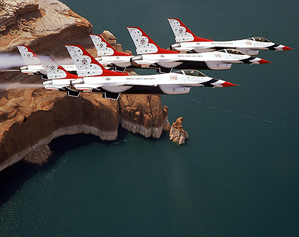 Thunderbirds F-16 Falcons over Lake Powell Photo Print