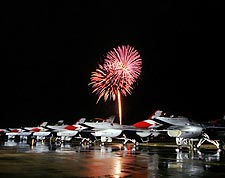 Thunderbirds F-16 Falcons w/Fireworks Photo Print for Sale