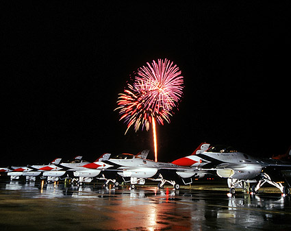 Thunderbirds F-16 Falcons w/Fireworks Photo Print
