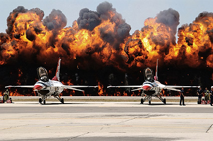 Thunderbirds F-16 w/ Fireball Background Photo Print