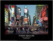 Times Square at Night New York City Mini Poster Print For Sale