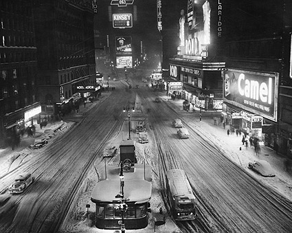Times Square in Snow, 1930s New York City Photo Print