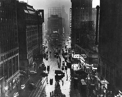 Times Square New York City in Rain 1930s Photo Print