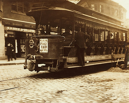 Trolley Car & Hitchhiker Boston Lewis Hine Photo Print