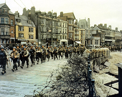 U.S. Army Troops Marching in Amsterdam WWII Photo Print