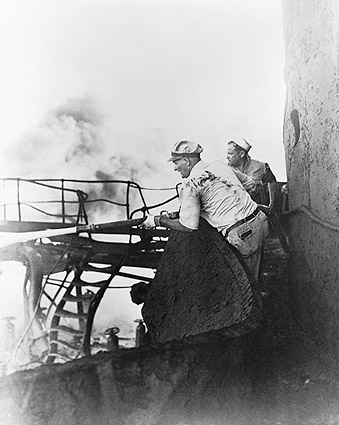 U.S. Marines Putting Out Ship Fire WWII Photo Print