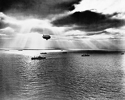 U.S. Navy Blimp & UN Convoy WWII 1943 Photo Print