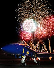 U.S. Navy Blue Angels Fireworks Display Photo Print for Sale
