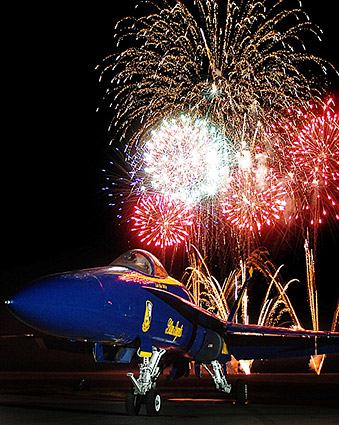 U.S. Navy Blue Angels Fireworks Display Photo Print