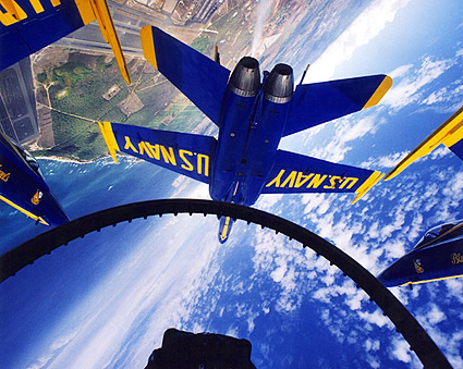 U.S. Navy Blue Angels in Flight Cockpit Photo Print