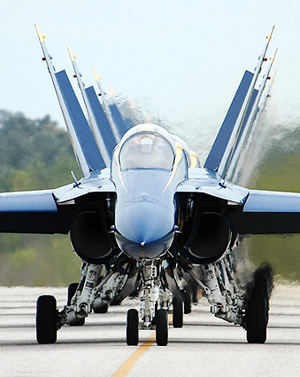 U.S. Navy Blue Angels Taxi into Flight Line Photo Print