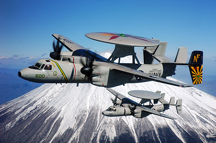 U.S. Navy E-2C Hawkeye Aircraft at Mount Fuji Photo Print