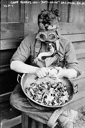 U.S. Soldier Wearing a Gas Mask Camp Kearny Photo Print