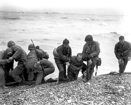 U.S. Troops on Omaha Beach in Normandy 1944 WWII Photo Print