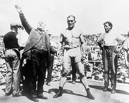 Unidentified Boxer and Announcer 1900s Photo Print
