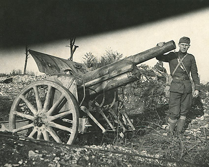 Unidentified Soldier Posing with Artillery WWI Photo Print