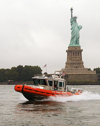 US Coast Guard Boat & Statue of Liberty NYC Photo Print