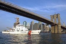 US Coast Guard Cutter Adak Brooklyn Bridge Photo Print for Sale