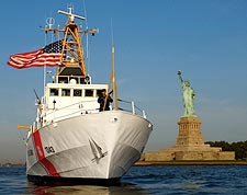US Coast Guard Cutter & Statue of Liberty Photo Print for Sale
