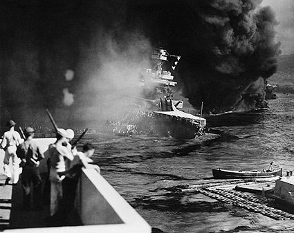 USS California Sinking in Pearl Harbor WWII Photo Print