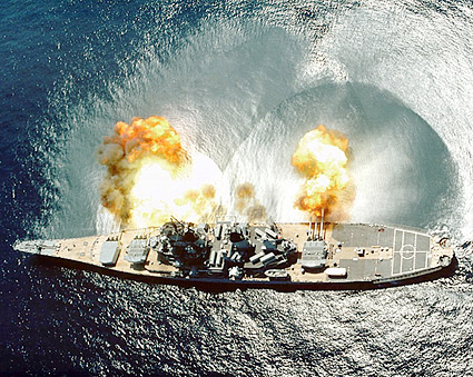 USS Iowa BB-61 Battleship Firing Guns Photo Print