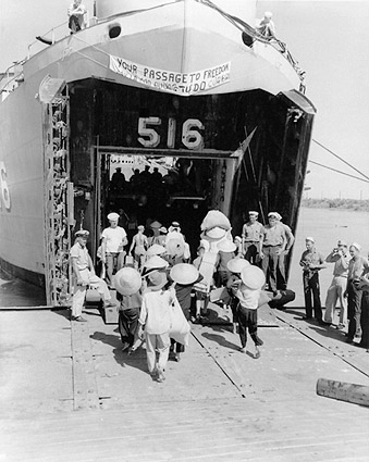 Vietnamese Refugees Board U.S. Navy Ship LST 516 Photo Print
