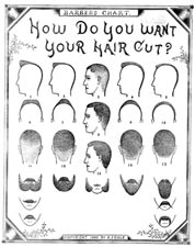 Vintage Mustache Beard & Haircut Chart 1890 Photo Print for Sale