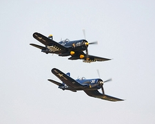 Vought F4U Corsair WWII Aircraft Pair Photo Print