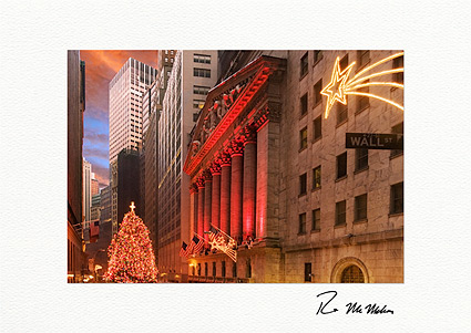 Wall street new york stock exchange tree personalized christmas cards m4hsunfo