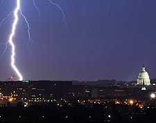 Washington D.C. Capitol Lightning Striking Photo Print for Sale
