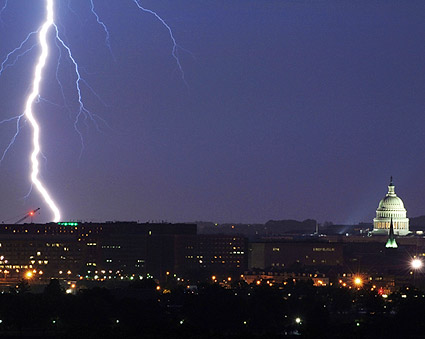 Washington D.C. Capitol Lightning Striking Photo Print