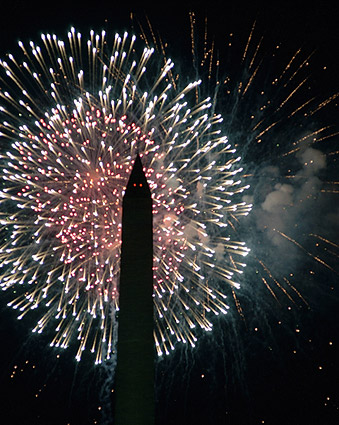 Washington Monument July 4th Fireworks in Washington D.C. Photo Print
