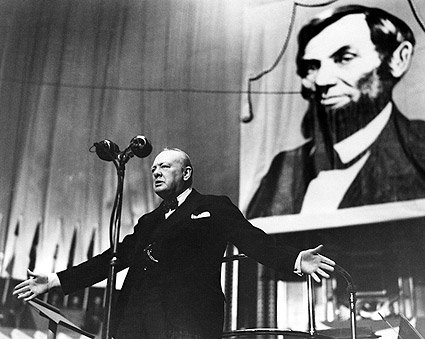 Winston Churchill & Lincoln Albert Hall Photo Print