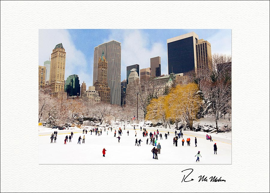 Wollman rink central park new york city personalized christmas cards