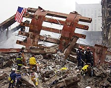 World Trade Center Steel Framework and Workers 9/11 Photo Print for Sale