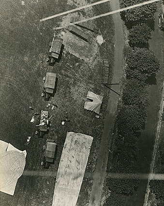 WWI Era Aerial View of Military Trucks and Tents Photo Print