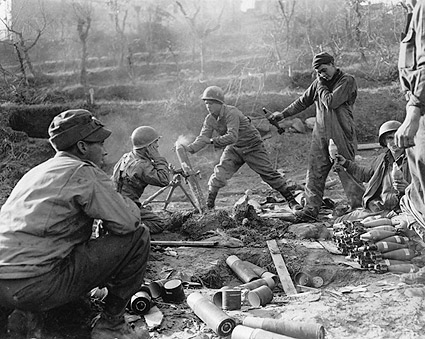 WWII American Soldiers Firing Mortar Rounds Photo Print
