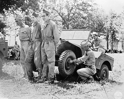 WWII American Soldiers Improvise Jeep Repair Photo Print