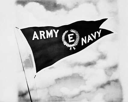 WWII Army Navy Flag Flying Full Staff Photo Print