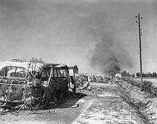 WWII German Convoy Destroyed by Americans Photo Print for Sale