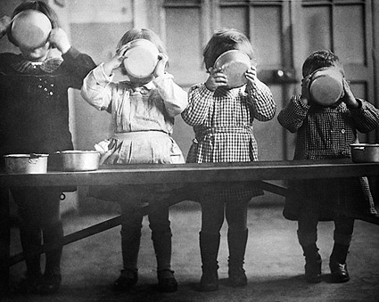 WWII Orphans in France Enjoy a Meal Photo Print
